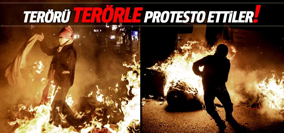 Terör saldırısını terörle protesto ettiler!