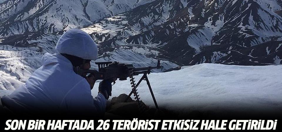 Son bir haftada 26 terörist etkisiz hale getirildi