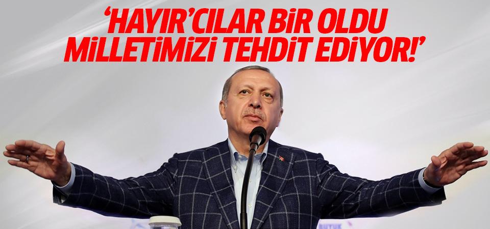Cumhurbaşkanı Erdoğan: 'Hayır'cılar bir oldu, milletimizi tehdit ediyor