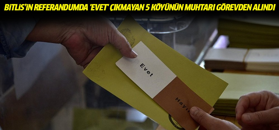 'Bitlis'in referandumda 'Evet' çıkmayan 5 köyünün muhtarı görevden alındı'