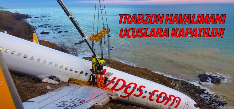 Trabzon'da pistten çıkan uçağı kurtarma çalışmaları