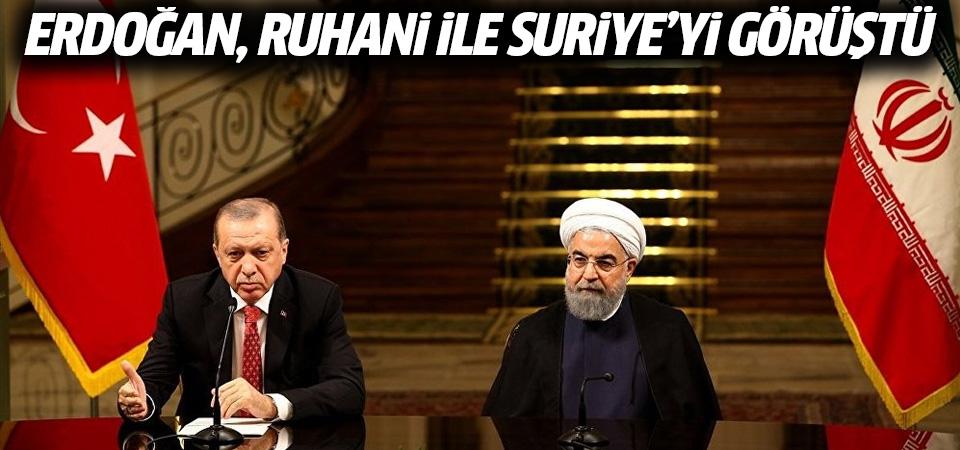 Erdoğan, Ruhani ile Suriye'yi görüştü