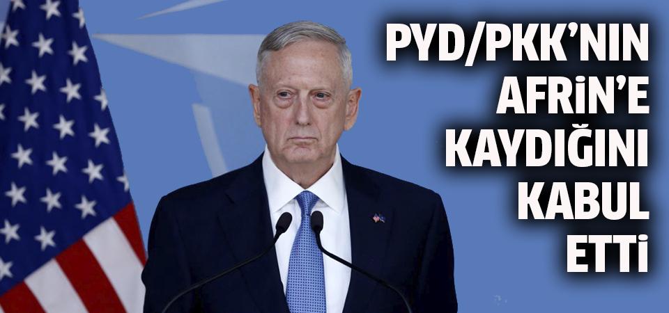 ABD Savunma Bakanı Mattis, PYD/PKK'nın Afrin'e kaydığını kabul etti