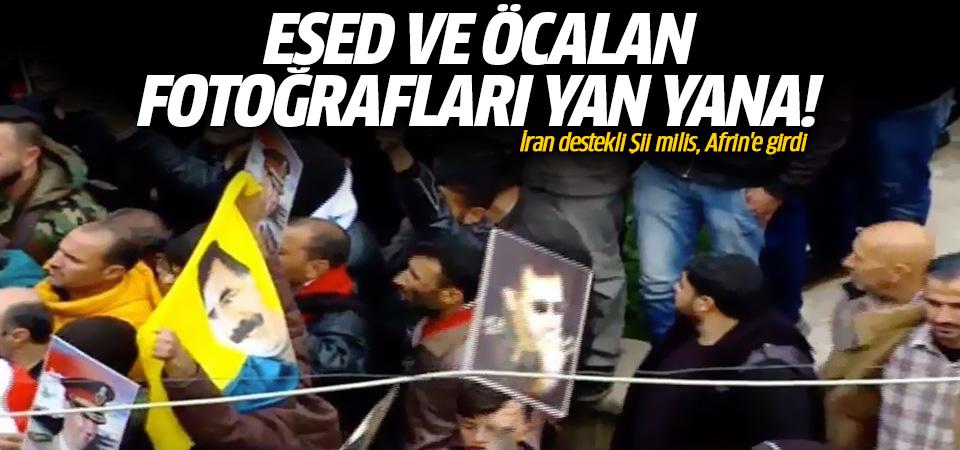 Afrin'den sıcak görüntü! Böyle karşıladılar! Esed ve Öcalan fotoğrafları yan yana