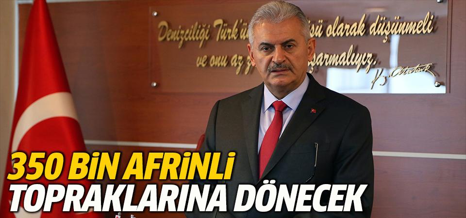 Başbakan Binali Yıldırım: 350 Afrinli temizlenen topraklarına dönecek