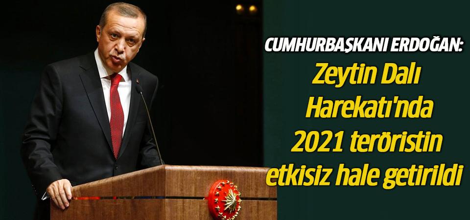 Cumhurbaşkanı Erdoğan: Zeytin Dalı Harekatı'nda 2021 terörist etkisiz hale getirildi