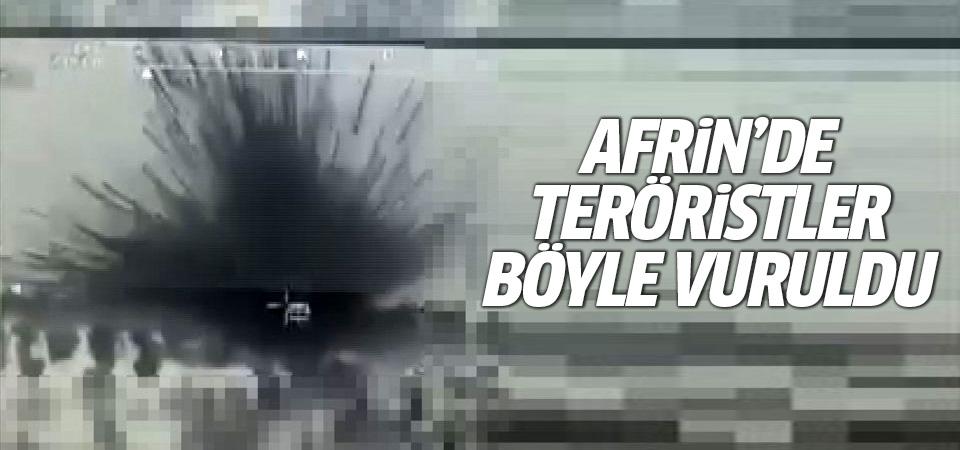 Türk tankları Afrin'de teröristleri böyle vuruldu