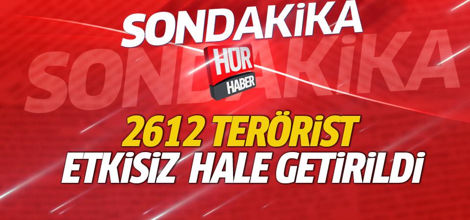 TSK: Etkisiz hale getirilen terörist sayısı 2612 oldu
