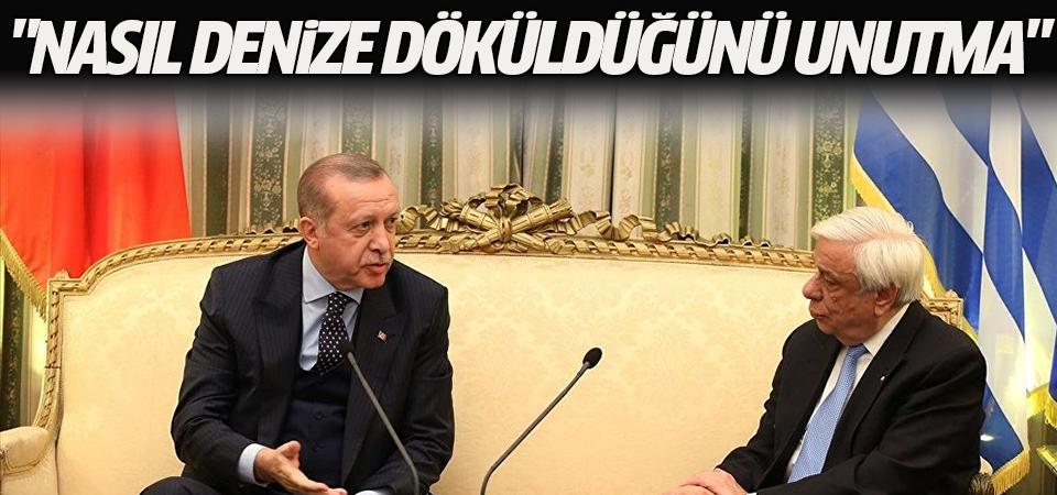 Cumhurbaşkanı Erdoğan Yunan mevkidaşına cevap verdi