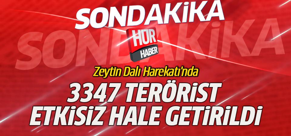 Zeytin Dalı Harekatı'nda 3347 terörist etkisiz hale getirildi