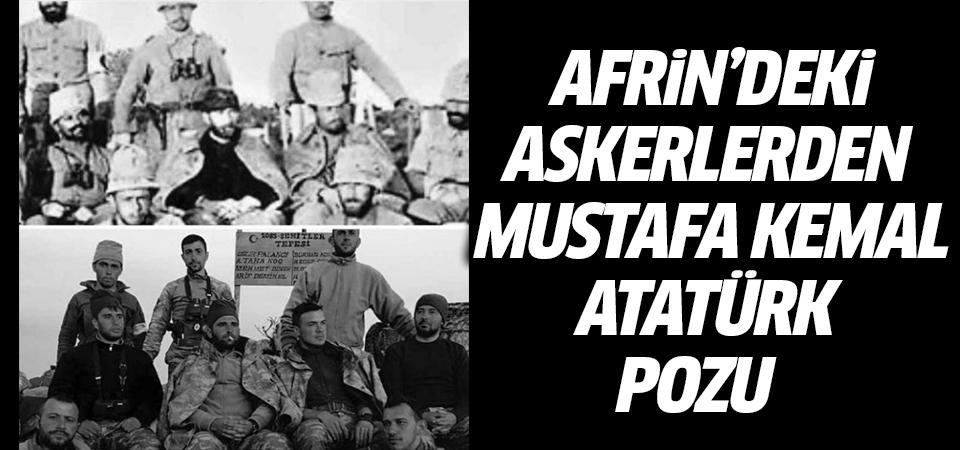 Afrin'deki askerlerden Mustafa Kemal Atatürk pozu