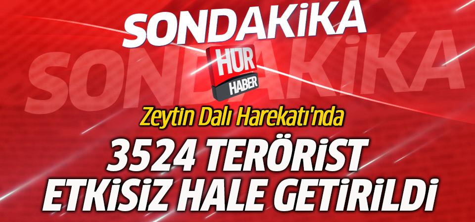 Zeytin Dalı Harekatı'nda 3524 terörist etkisiz hale getirildi