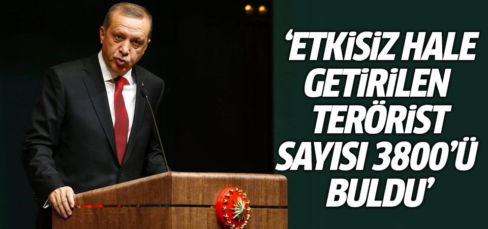 Erdoğan: Etkisiz hale getirilen terörist sayısı 3 bin 800'ü buldu