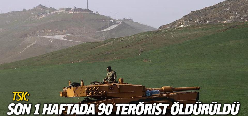 TSK: Son 1 haftada 90 terörist öldürüldü