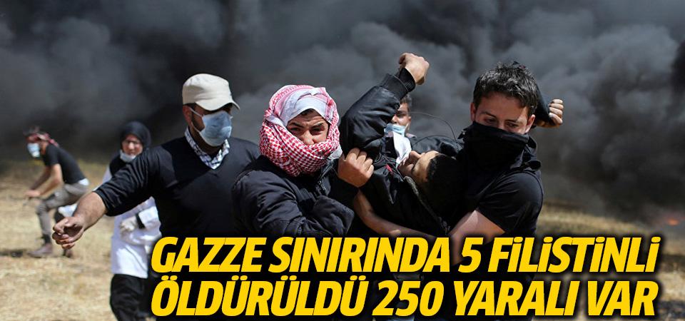 Gazze sınırında 5 Filistinli öldürüldü, 250 yaralı var