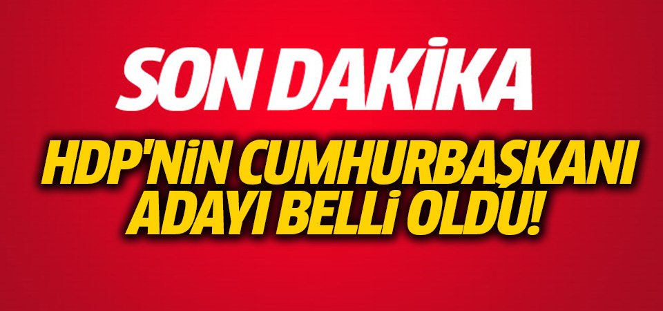 HDP'nin adayı belli oldu
