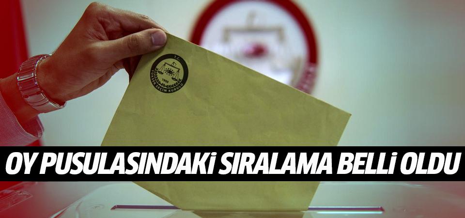 Parti ve ittifakların oy pusulasındaki sıralaması belli oldu