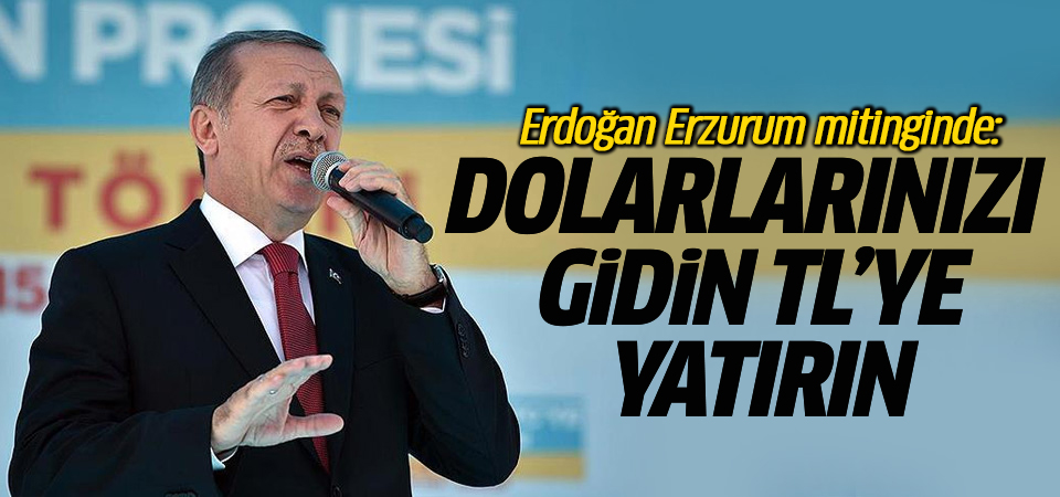 Cumhurbaşkanı Erdoğan Erzurum mitinginde: Dolarlarınızı gidin TL'ye yatırın