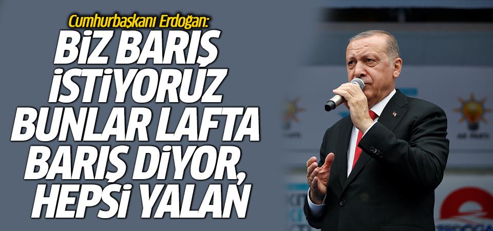 Cumhurbaşkanı Erdoğan: Biz barış istiyoruz bunlar lafta barış diyor, hepsi yalan