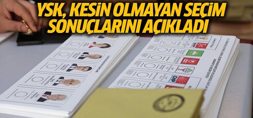 YSK kesin olmayan seçim sonuçlarını açıkladı