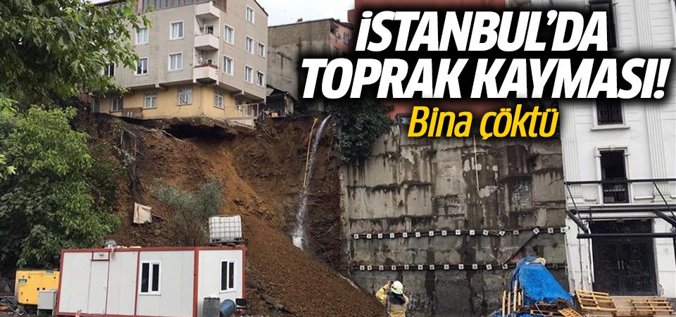 İstanbul'da toprak kayması! Bina çöktü