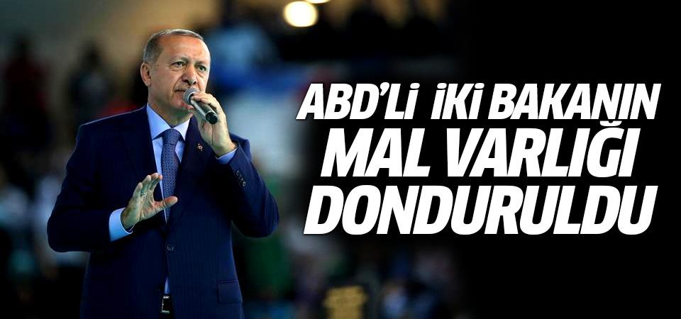 Erdoğan: ABD Adalet ve İçişleri Bakanlarının mal varlıklarını donduracağız