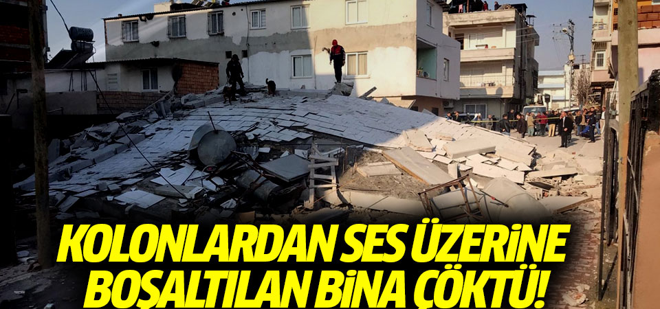 Kolonlardan ses gelmesi üzerine boşaltılan bina çöktü!
