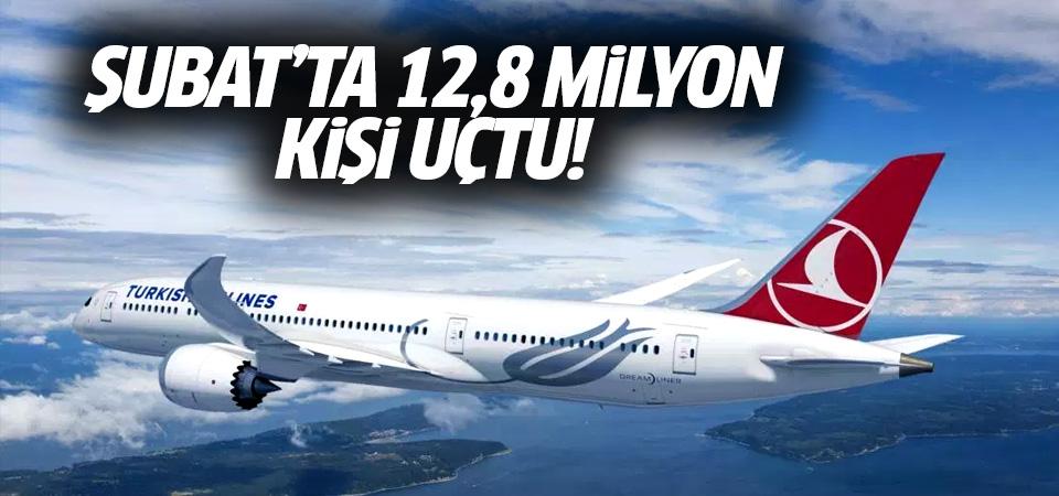 Şubat'ta 12,8 milyon kişi uçtu…