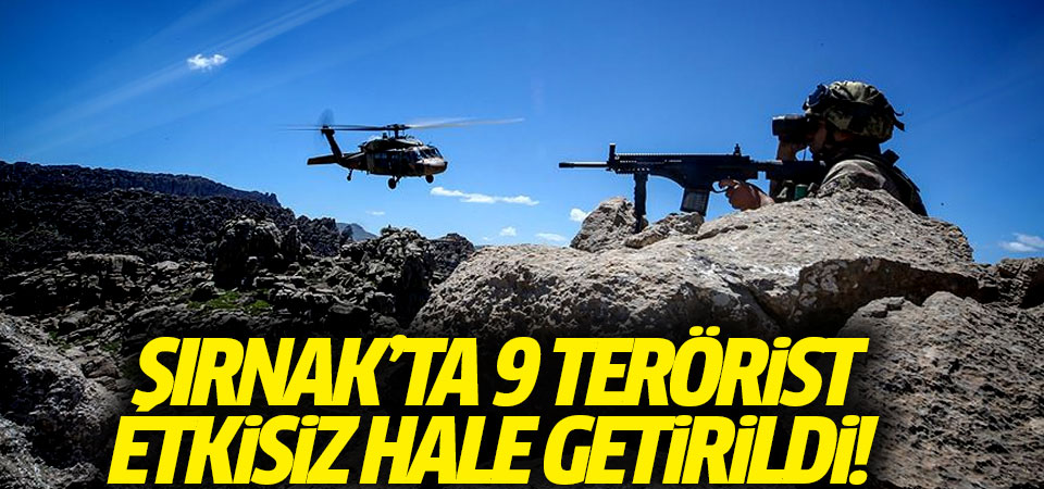 Şırnak'ta 9 terörist etkisiz hale getirildi!
