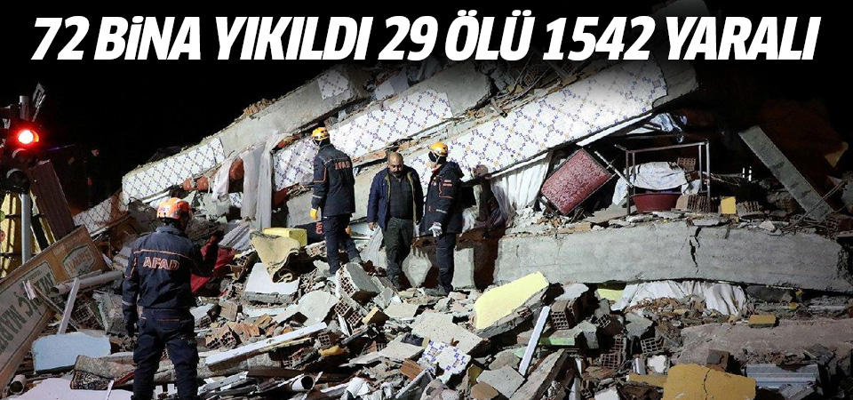 Elazığ'da 6,8 büyüklüğünde deprem: 72 bina  yıkıldı 29 ölü, 1542 yaralı
