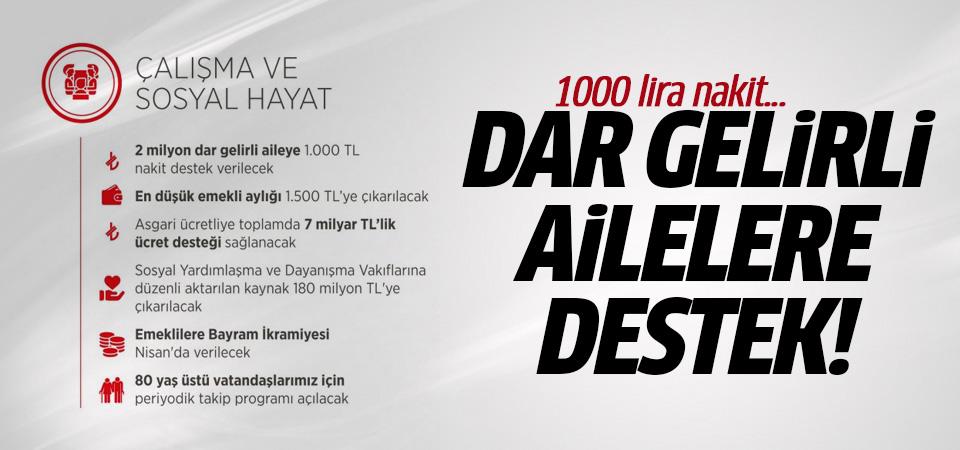 Erdoğan açıkladı: Dar gelirli ailelere destek ve 1000 Türk Lirası nakit