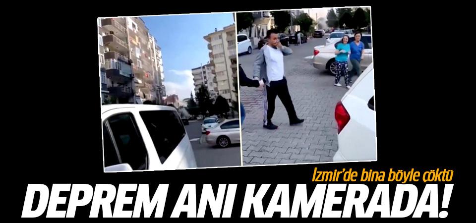 İzmir'deki deprem sonrası bir binanın çökme anı kamerada