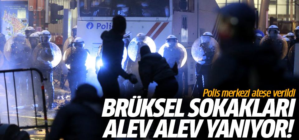 Brüksel sokakları alev alev yanıyor! Polis merkezi ateşe verildi