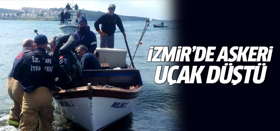 İzmir Foça'da askeri uçak düştü
