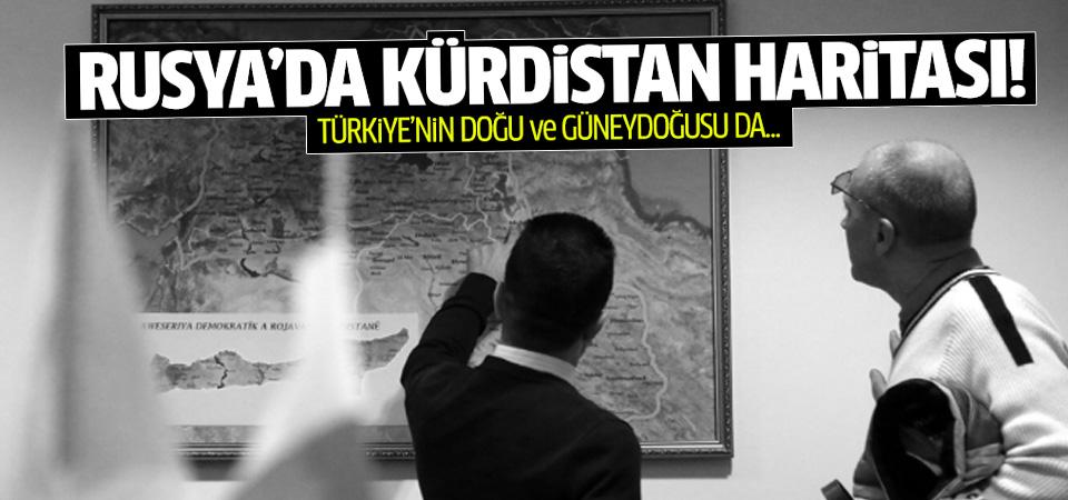 PYD'nin Moskova temsilciliğinde Kürdistan haritası
