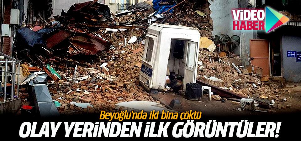 Beyoğlu'nda iki bina çöktü! İşte olay yerinden ilk görüntüler...